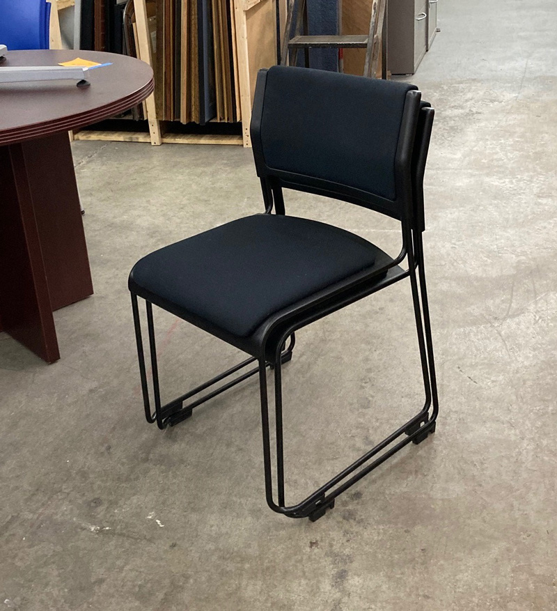 Cantilever Stack Chair Black Fabric Seat & Back